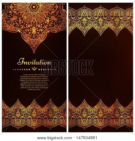 Ornate vector border and place for your chocolate design. Vintage ornate cards in oriental style. Golden Eastern floral decor. Template frame for greeting card and wedding invitation.
