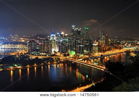Pittsburgh's skyline at night viewed from the Duquesne Incline