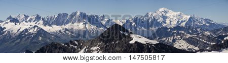 A panorama from the summit of Haute Cime taking in Mont Blanc and the Chamonix valley.