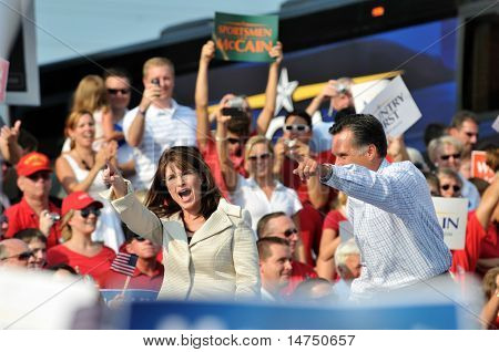 O'FALLON - AUGUST 31: Governors Saran Palin (L) and Mitt Romney at a John McCain rally August 31, 2008 in O'Fallon, St. Louis, MO.