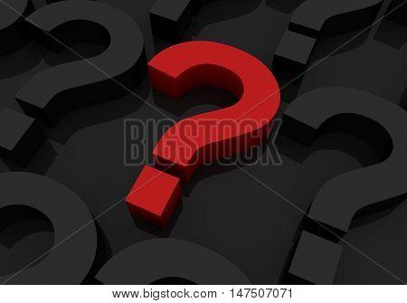 big red question mark 3d illustration on black background