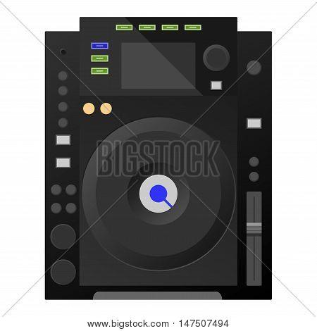 Music workstation. Black DJ decks, mixer Vector illustration