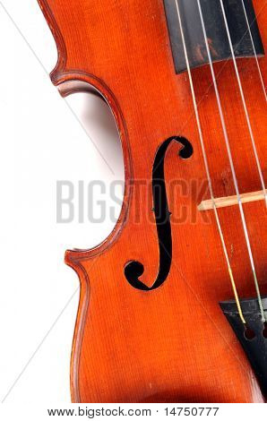 Close up of mid section of antique violin over white background