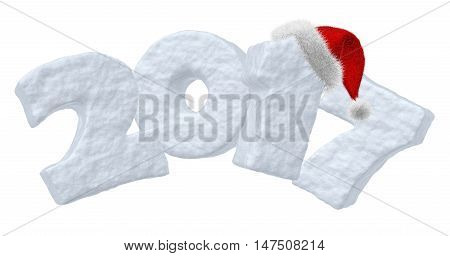 Happy New Year creative holiday concept - 2017 new year sign text written with numbers made of snow and with Santa Claus fluffy red hat New Year 2017 winter snow symbol 3d illustration isolated on white