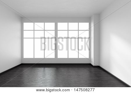 Black and white empty room with black hardwood parquet floor big window and white walls and sunlight from window front view minimalist interior 3d illustration