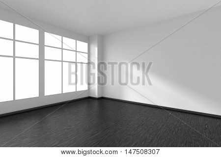 Black and white empty room with black hardwood parquet floor big window and white walls and sunlight from window minimalist interior 3d illustration