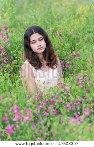 girl sitting on the meadow with meadow flowers