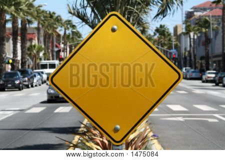 Blank Yellow Street Sign