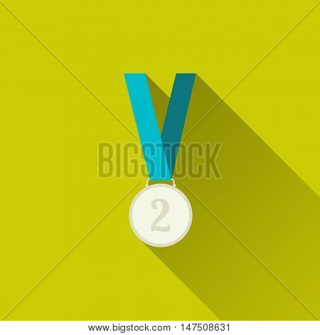 Silver medal winner, second place. Sport icon. Concept of victory, award, achievement, goal. Flat minimalism design style with long shadow, modern color. Vector illustration for your websites or app