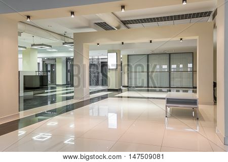 Clean and spacious hallway at the university.