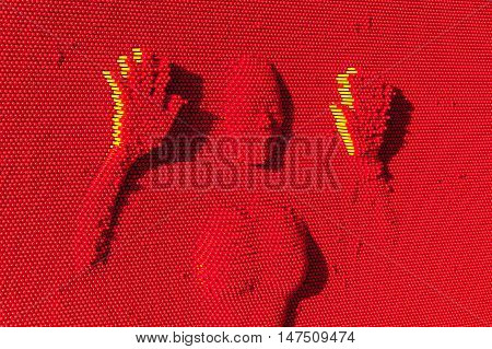 Woman shape imprinted in red wall - science toy.