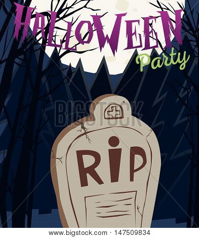 Halloween party poster with tombstone and moon. Vector illustration. EPS 10