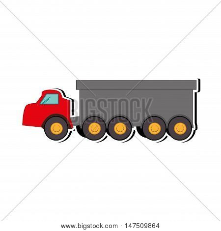 red truck dump. construction cargo transportation. vector illustration