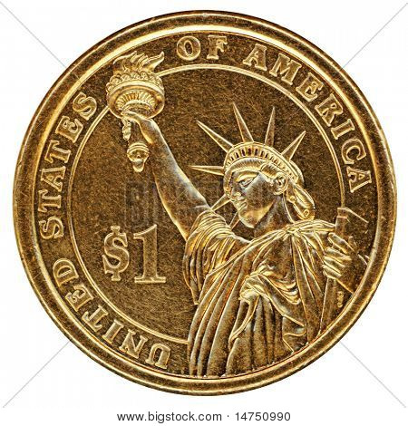 One dollar United States coin isolated over white background