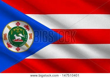 Flag of Puerto Rico State located in the northeastern Caribbean United States. 3D illustration