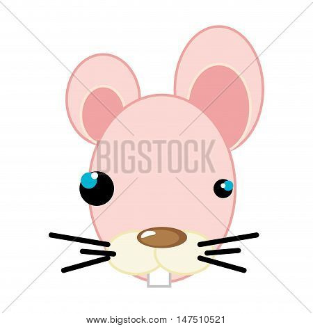 pink mouse with brown nose. animal cartoon. vector illustration