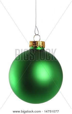 Green Christmas ornament isolated over white background