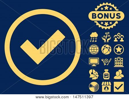 Accept icon with bonus pictures. Vector illustration style is flat iconic symbols, yellow color, blue background.