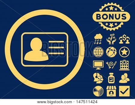 Account Card icon with bonus elements. Vector illustration style is flat iconic symbols, yellow color, blue background.