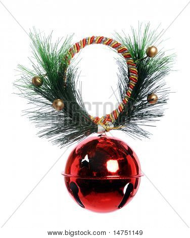 Red Christmas Bell with ribbon and pine branch