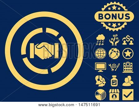Acquisition Diagram icon with bonus symbols. Vector illustration style is flat iconic symbols, yellow color, blue background.