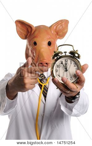 Swine flu concept - Doctor with pig head pointing at alarm clock