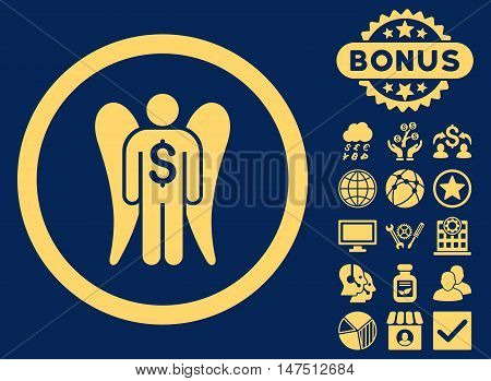 Angel Investor icon with bonus pictogram. Vector illustration style is flat iconic symbols, yellow color, blue background.