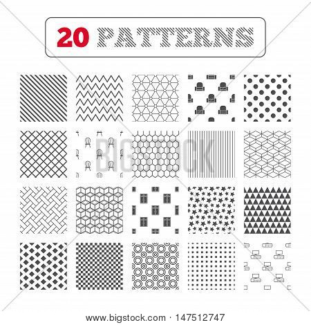 Ornament patterns, diagonal stripes and stars. Furniture icons. Cupboard, chair and TV table signs. Modern armchair symbol. Geometric textures. Vector