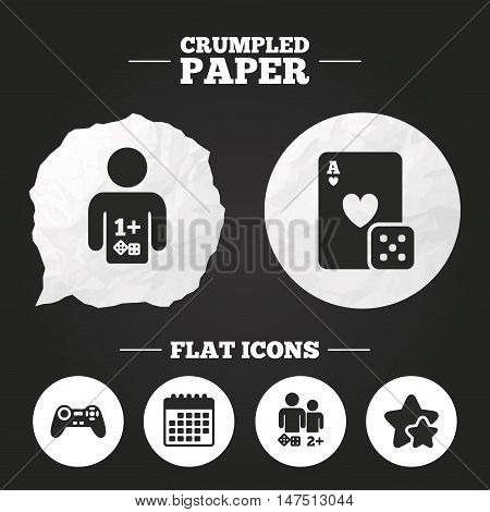 Crumpled paper speech bubble. Gamer icons. Board games players signs. Video game joystick symbol. Casino playing card. Paper button. Vector
