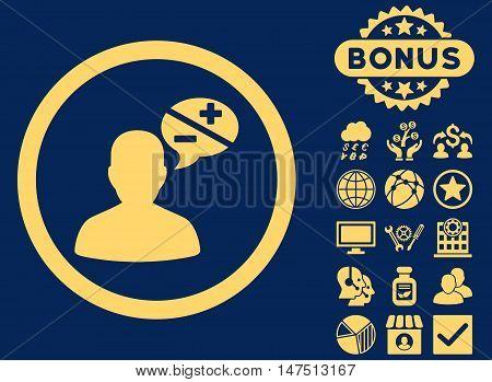 Arguments icon with bonus symbols. Vector illustration style is flat iconic symbols, yellow color, blue background.