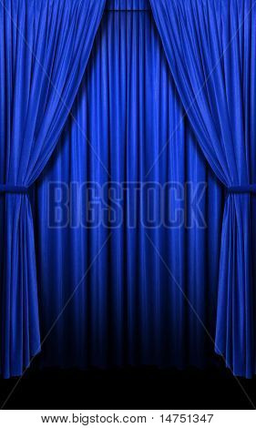 Vertical blue curtain open evenly with shadows and light