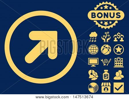 Arrow Up Right icon with bonus design elements. Vector illustration style is flat iconic symbols, yellow color, blue background.