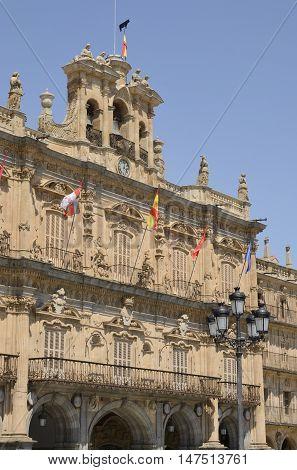 Facade of the City Hall in Main Plaza Salamanca Spain