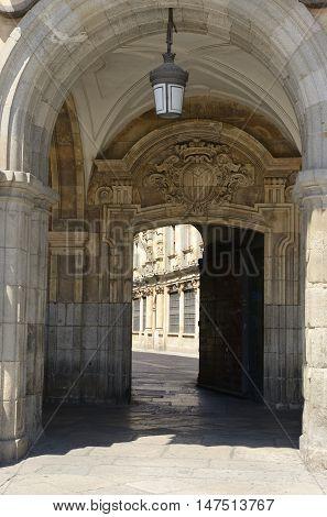 Gate at Main Plaza in the city of Salamanca Spain