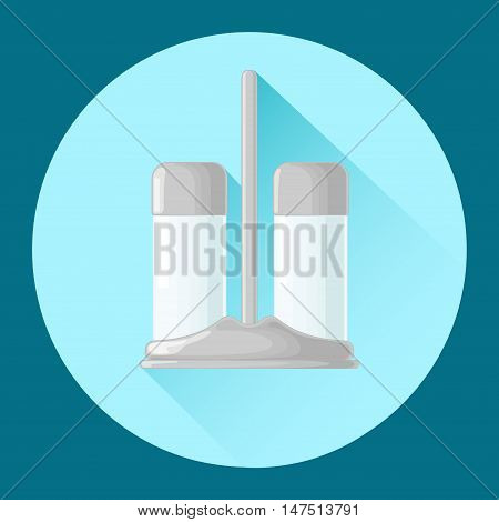 Salt and pepper shakers. Icon. Vector illustration.