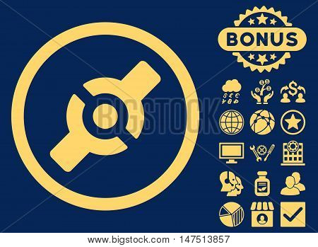 Artificial Joint icon with bonus pictogram. Vector illustration style is flat iconic symbols, yellow color, blue background.