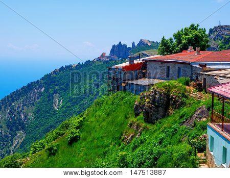 Structures on the edge of the plateau of Mount Ai-Petri Republic of Crimea