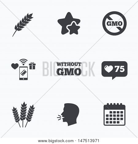 Agricultural icons. Gluten free or No gluten signs. Without Genetically modified food symbols. Flat talking head, calendar icons. Stars, like counter icons. Vector