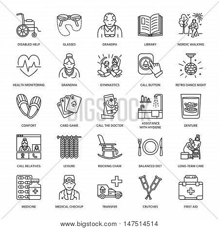 Modern vector line icon of senior and elderly care. Nursing home elements - old people wheelchair leisure hospital call button medicines. Linear pictograms with editable stroke for sites brochures.