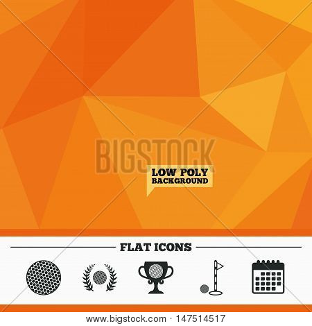 Triangular low poly orange background. Golf ball icons. Laurel wreath winner award cup sign. Luxury sport symbol. Calendar flat icon. Vector