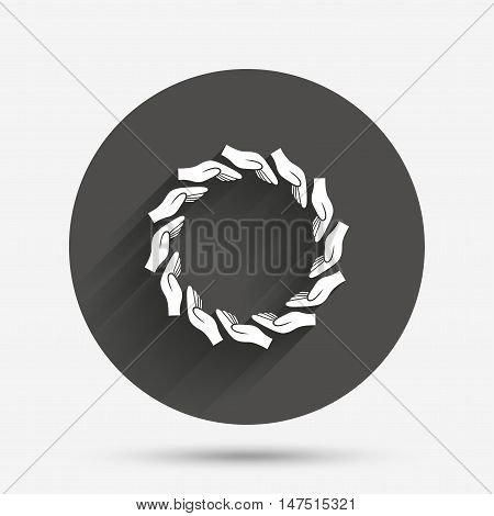 Donation hands circle sign icon. Charity or endowment symbol. Human helping hand palm. Circle flat button with shadow. Vector
