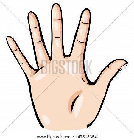 Vector Cartoon Palmwith Fingers Spread