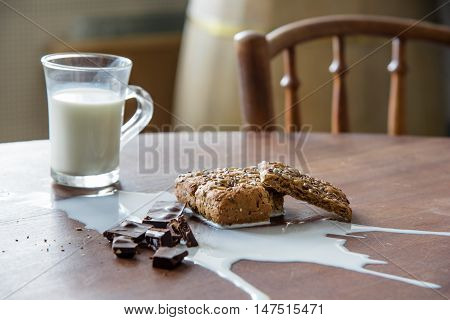 Chocolate, bread and spilled milk on the table. Eco life concept.