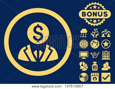 Banker icon with bonus symbols. Vector illustration style is flat iconic symbols, yellow color, blue background.