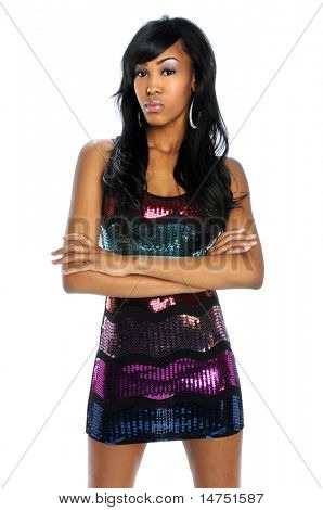 Young African American woman with arms crossed isolated over white background