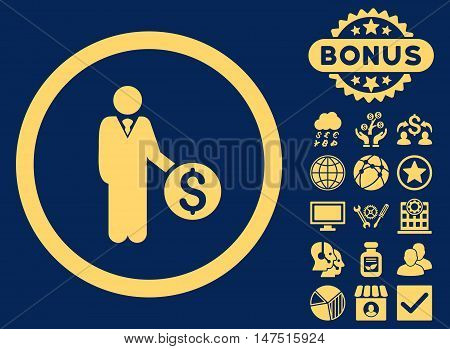 Banker icon with bonus elements. Vector illustration style is flat iconic symbols, yellow color, blue background.