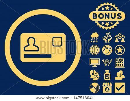 Banking Card icon with bonus symbols. Vector illustration style is flat iconic symbols, yellow color, blue background.