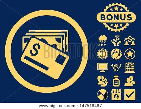 Banknotes and Card icon with bonus symbols. Vector illustration style is flat iconic symbols, yellow color, blue background.