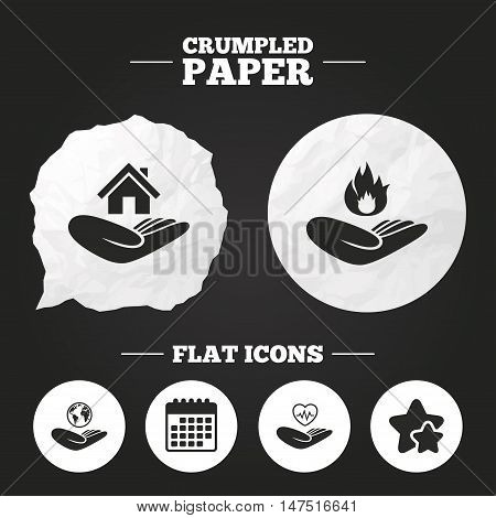Crumpled paper speech bubble. Helping hands icons. Health and travel trip insurance symbols. Home house or real estate sign. Fire protection. Paper button. Vector