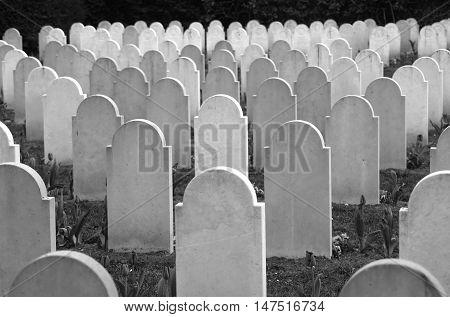 Granite headstones on WWII memorial cemetery in Hamburg Germany. Focus on area around 3rd row
